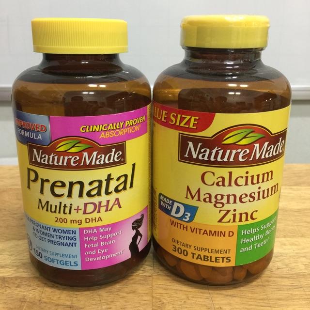 Combo 2 sản phẩm: 1 hộp vitamine bàu 150viên Và 1 hộp Can-xi ,magiê của Nature Made