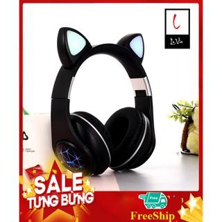 Tai Nghe Mèo Màu Đen Không Dây Có Mic, Led Siêu Nhạy, Bass Cực Ấm| Headphone Mèo Chụp Tai Bluetooth 5.0 Siêu Dễ Thương