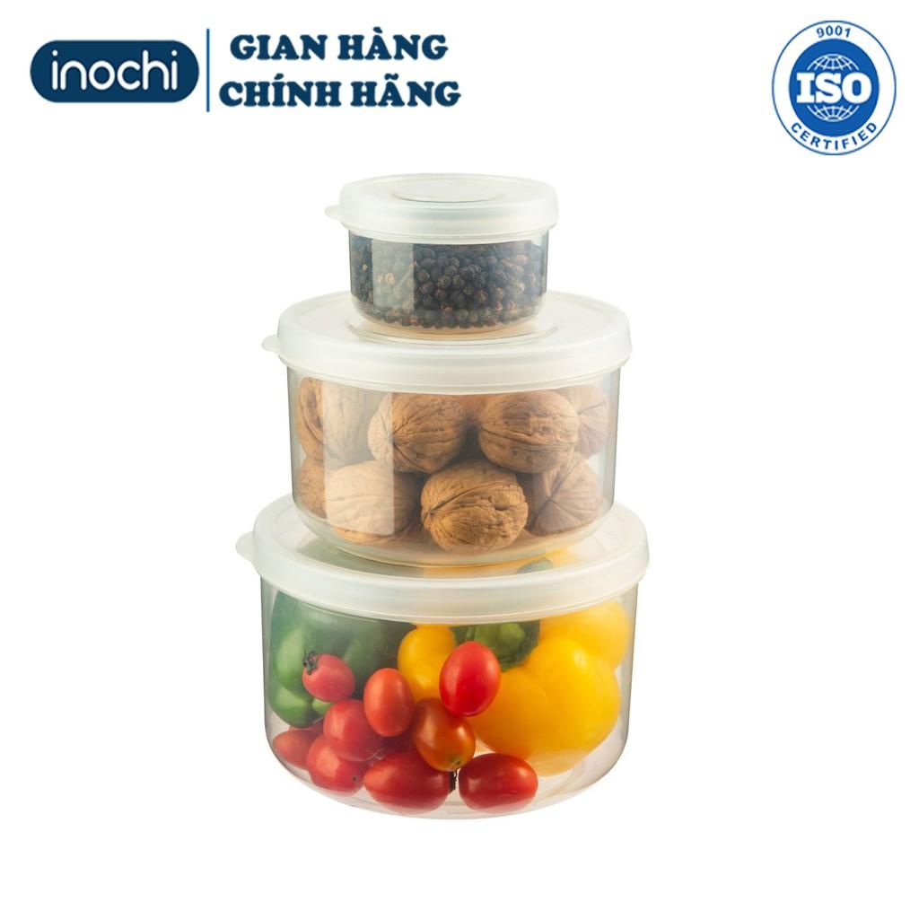 Set 3 Hộp thực phẩm Nhựa Đựng đồ Thức Ăn Thực Phẩm Hokkaido nhựa Tròn INOCHI Nhựa Trong Suốt 500-1000-200ml BOTPTN