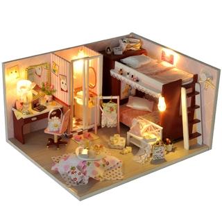 Nhà búp bê DIY Dollhouse lắp ghép bằng gỗ Mẫu Căn nhà màu hồng tặng kèm dụng cụ lắp ghép, keo silicon, Mica thumbnail