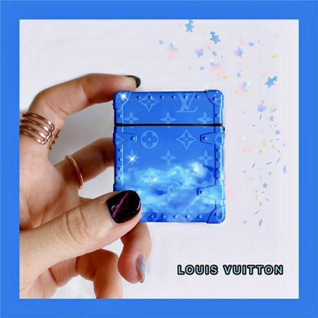 (Quà tặng ý nghĩa) Case bảo vệ Airpods Pro/1/2 hộp hành lý LV Louis Vuitton màu xanh đại dương