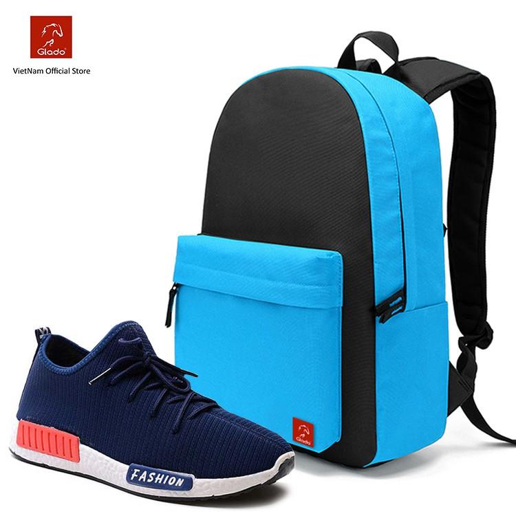 Combo Balo Classical Glado BLL004 (Xanh Phối Đen) + Giày Sneaker GS064 (Xanh)