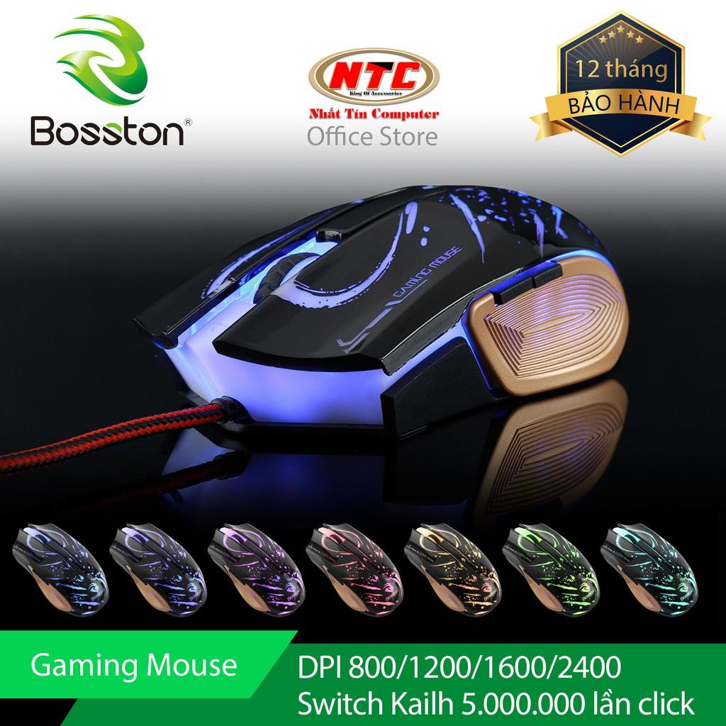 Chuột chuyên game Bosston GM100 Led đa màu - Hãng phân phối chính thức