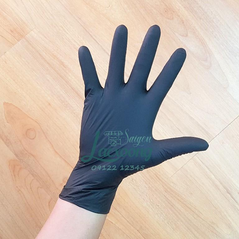 Găng tay cao su Nitrile màu đen