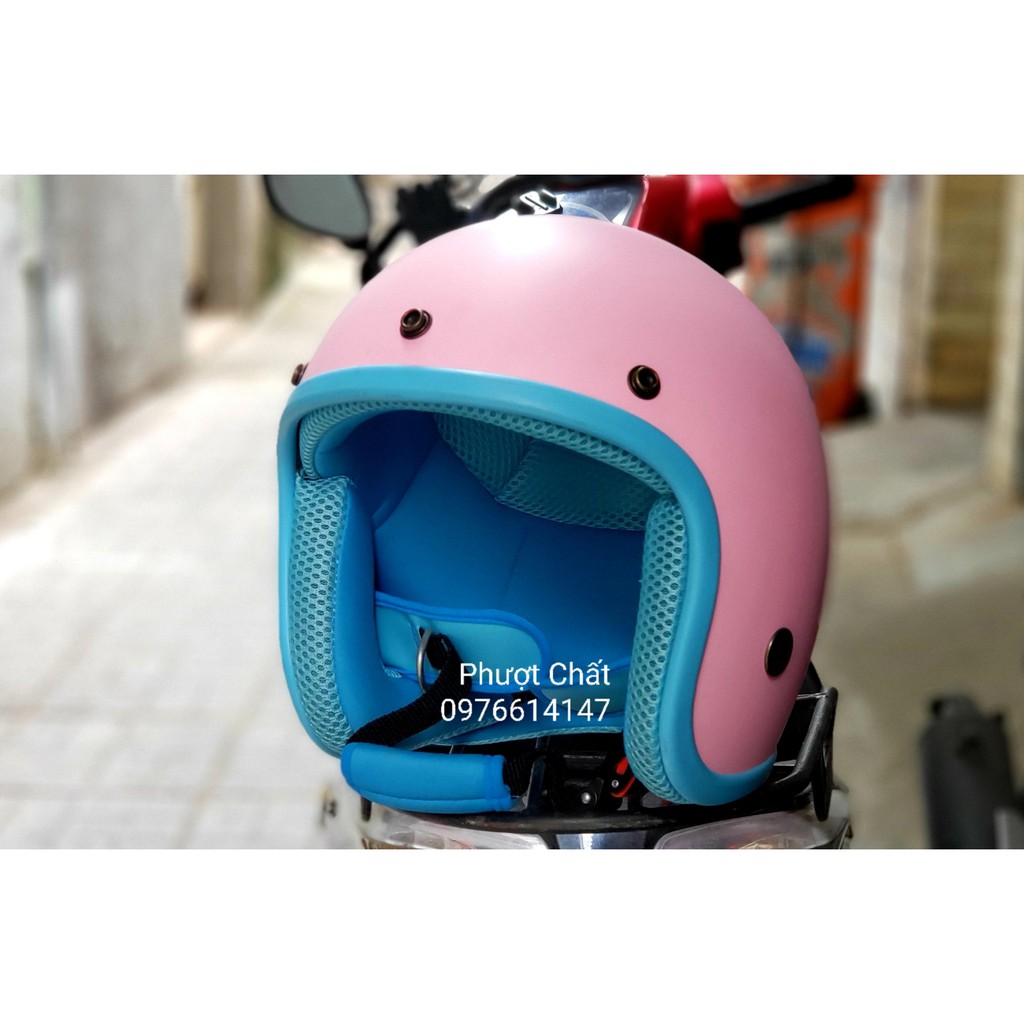 Mũ bảo hiểm 3/4 NTMAX màu hồng lót xanh