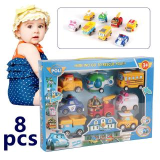8-in-1 Robot Cars Toy Pull Back Cars Vehicle Set Educational Toy for Children