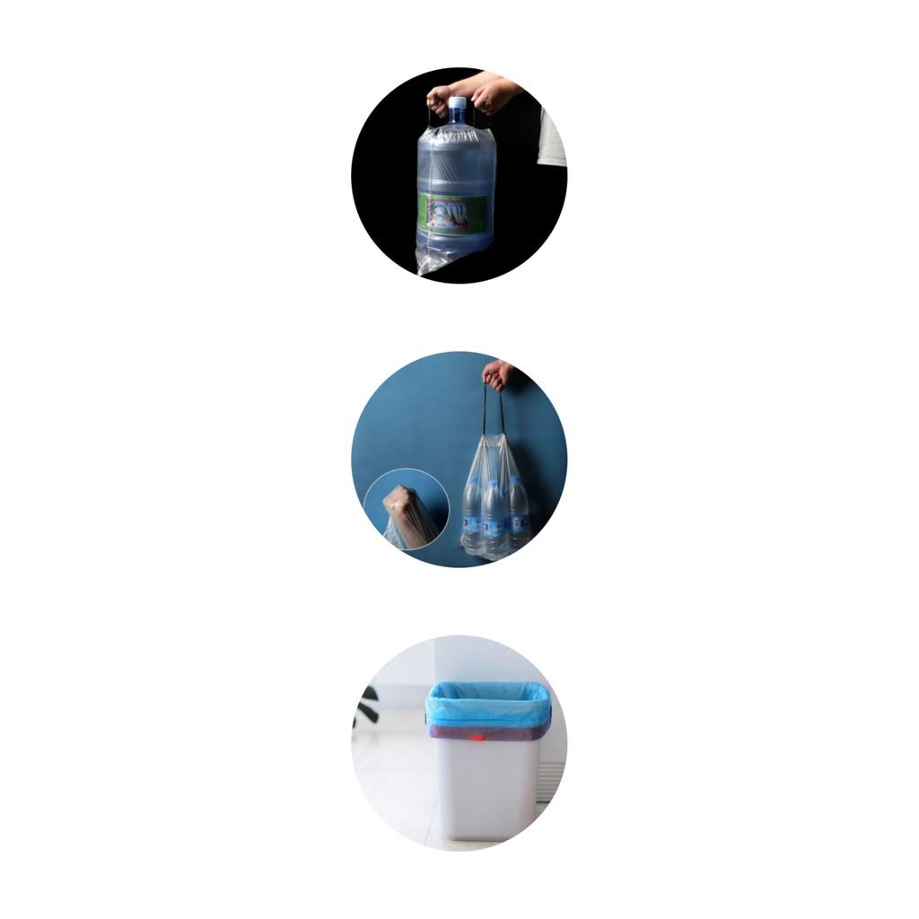 Túi đựng rác tự hủy sinh học có quai xách tiện dụng - Bao đựng rác tự phân hủy có dây rút thông minh