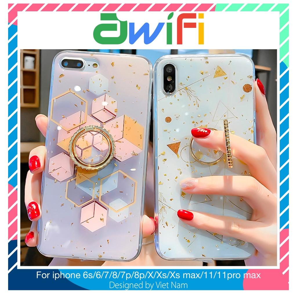Ốp iphone - Ốp lưng Hình học kèm Ring 5/5s/6/6s/6plus/6splus/7/8/7plus/8plus/x/xs/xs max/11/11promax - Awifi Case E2-7