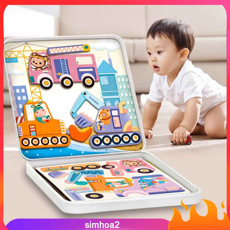 [SIMHOA2] Plastic Cartoon Magnetic Puzzle Toys Cards Set Simulated Set with Magnetic Stickers for Girls Boys Early Education Halloween Gift