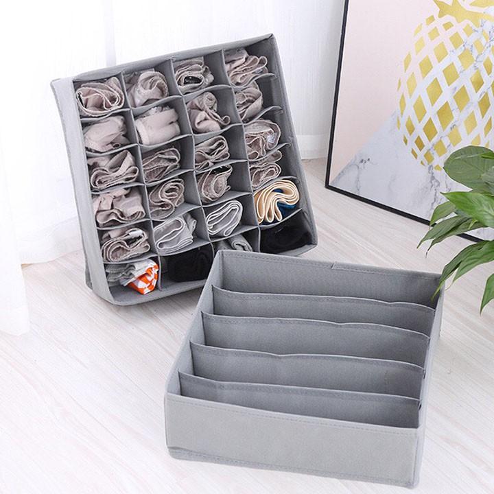 Sét 3 hộp vải đựng bảo quản đồ lót, quần áo tất, vớ bằng vải không dệt gọn gàng sang trọng HL6 dvrg