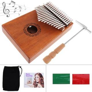 17 Key Kalimba Single Board Mahogany Thumb Piano Mbira Keyboard Instrument