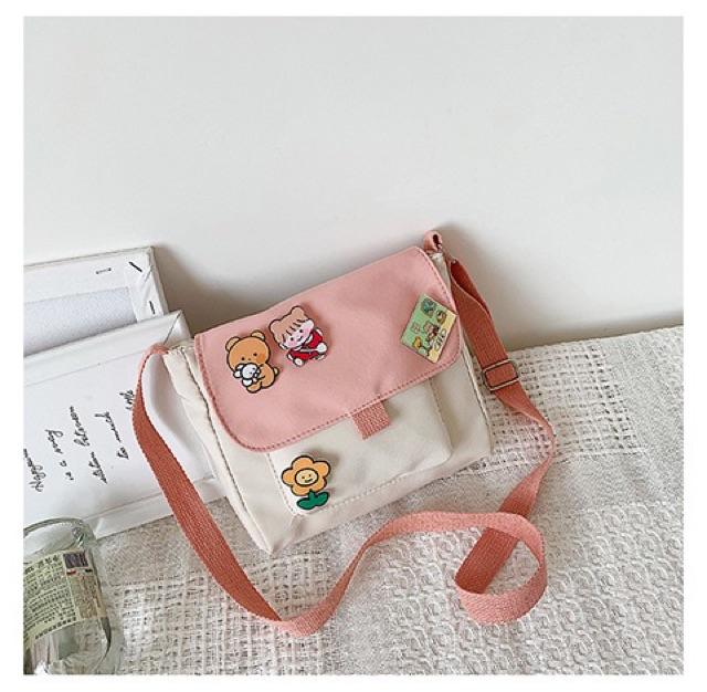 Túi Vải Messenger Gắn Sticker Phong Cách Nữ Sinh Hàn Quốc TVS14