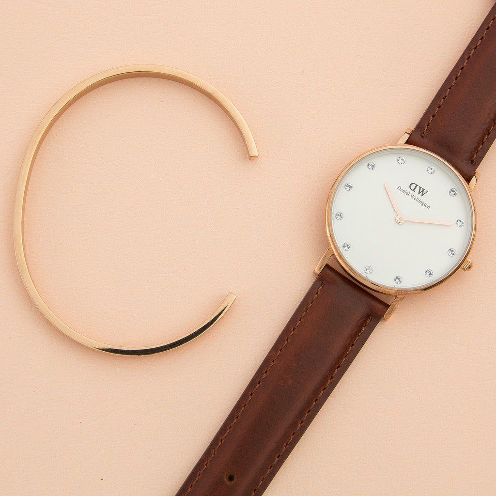 Combo đồng hồ nữ dây da Daniel Wellington Classy St Mawes, Vòng tay Classic Cuff S - Vàng Hồng