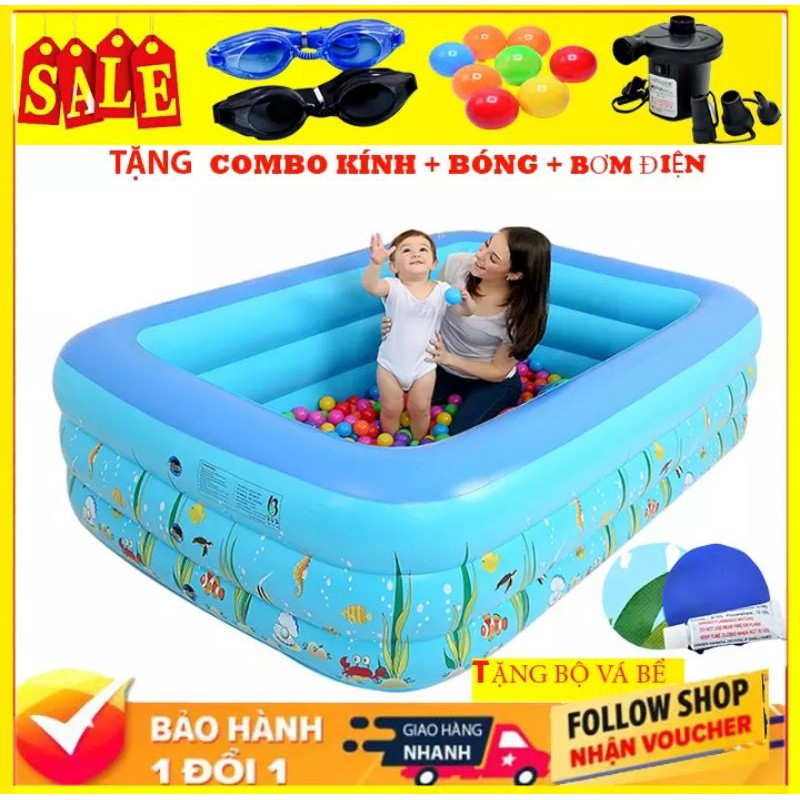 [ TẶNG BƠM ĐIỆN+KÍNH+BÓNG ] Bể Bơi Phao Cho Bé 3 Tầng 1M5 CÓ BỘ VÁ BỂ / Bể Bơi Trẻ Em Hồ Bơi Trong Nhà / Bể Bơi Cho Bé