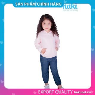 Áo bé gái - áo hoodie nỉ da dá - hồng HAKI, áo thu đông cho bé, áo dài tay bé gái