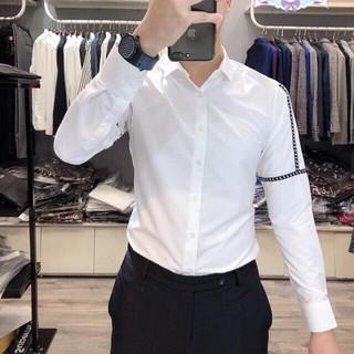 Áo Sơ Mi Trắng Phối Tay Hàng Cao Cấp Slimfit Body Hàng Chuẩn – Galio Shop