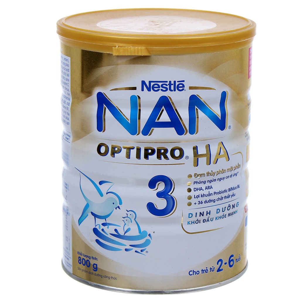 Sữa NAN 3 HA 800g cho bé 2-6 tuổi date 2019