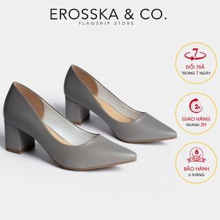 Giày cao gót Erosska thời trang mu i nho n kiê u da ng cơ ba n cao 5cm ma u xa m _ EP011 thumbnail