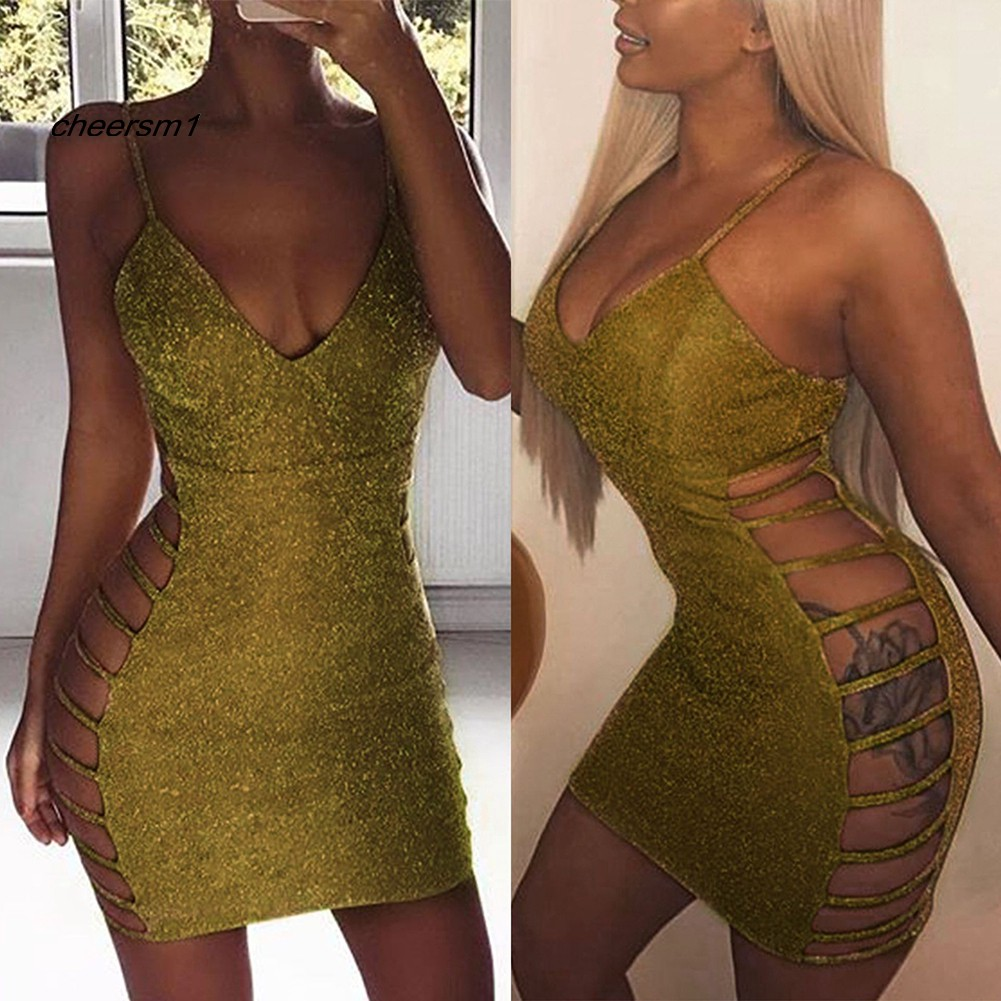 CHE♥Sexy Sleeveless V-Neck Side Hollow-Out Women Bodycon Night Club Bar Mini Dress