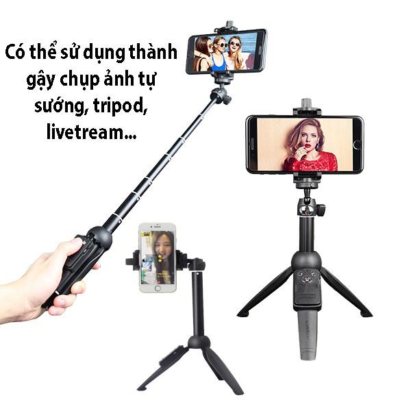 Gậy chụp ảnh kiêm Tripod đa năng Yunteng YT-9928N + Đèn Selfie mini Q