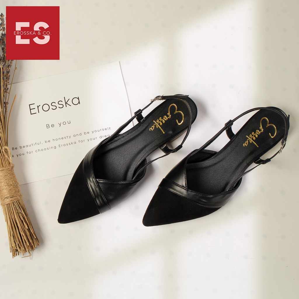 Giày Sandal Nữ Đế Bệt Mũi Nhọn Thời Trang Erosska EL005 ( Màu Nude)