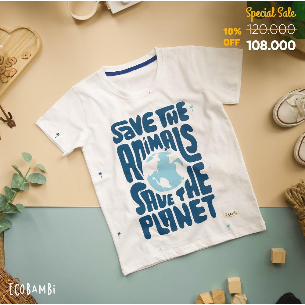Áo thun ECOBAMBI chủ đề Bảo vệ động vật - Save the animals, save the planet