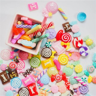 {NUV} 10Pcs DIY Phone Case Decor Crafts Miniature Resin Lollipop Candy Dollhouse Food Supply{LJ}