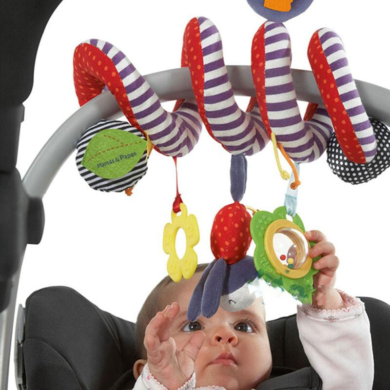 Kid Baby Crib Cot Pram Hanging Rattles Spiral Stroller Car Seat Toy with Bell
