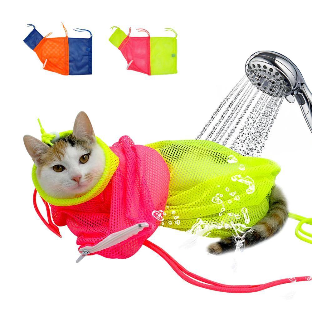 สีเขียว-ชมพู - Cat Grooming Net Bag ถุงตาข่ายอาบน้ำแมว ถุงตัดเล็บแมว กันตะกุย