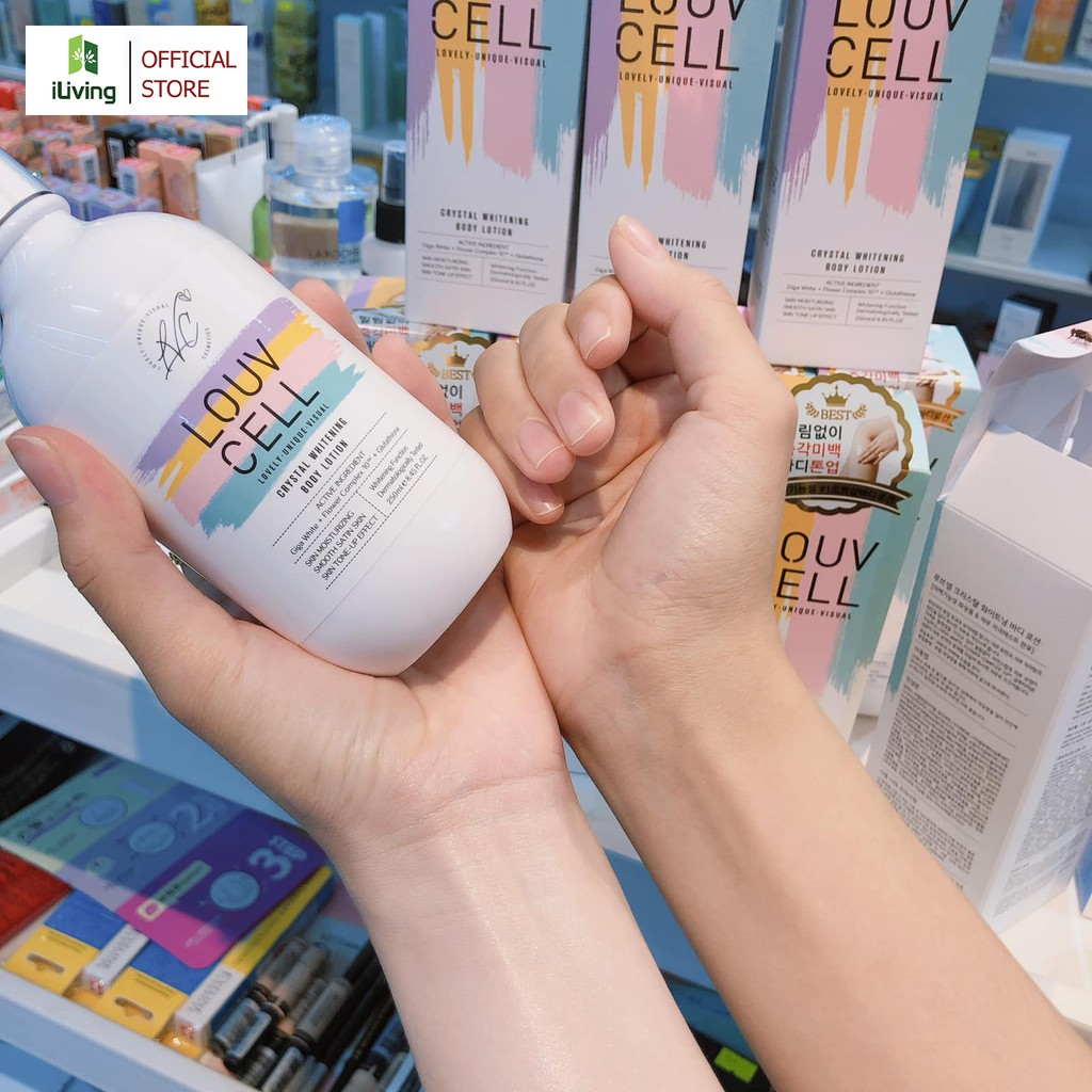 Kem dưỡng trắng da body Louv Cell Crystal Whitening Body Lotion 250ml ILIVING-LOUDTB250