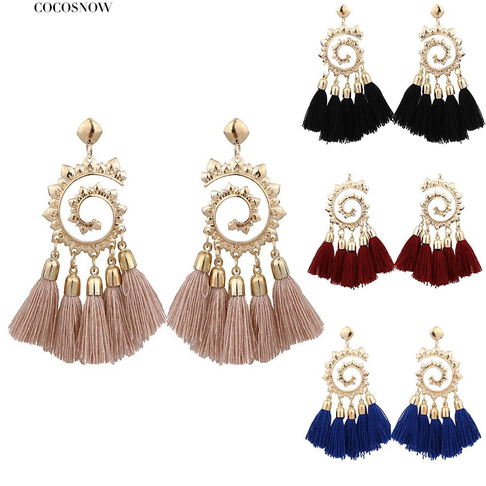 💖Bohemian Women Spiral Pendant Thread Tassel Dangle Drop Earrings