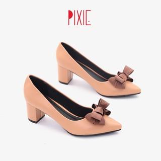 Giày Cao Gót 5cm Đế Vuông Mũi Nhọn Nơ Ấu Pixie P284