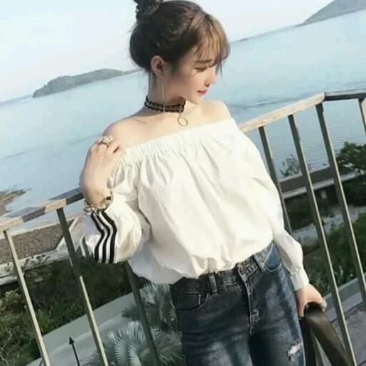 Áo kiểu lệch vai tay dài form rộng AKLV236  Áo quây nữ - Áo voan nữ croptop tay dài Hàn Quốc