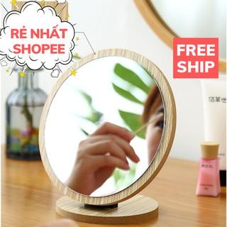 Gương Mini, Gương Để Bàn Trang Điểm Bằng Gỗ Phong Cách Hàn Quốc Sang Trọng PAPAA.HOME thumbnail