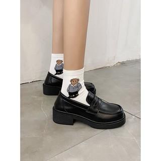 Giày nữ nâng gót màu đen Ulzzang