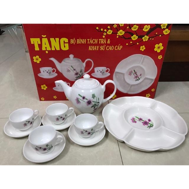 Bộ bình trà và khay sứ