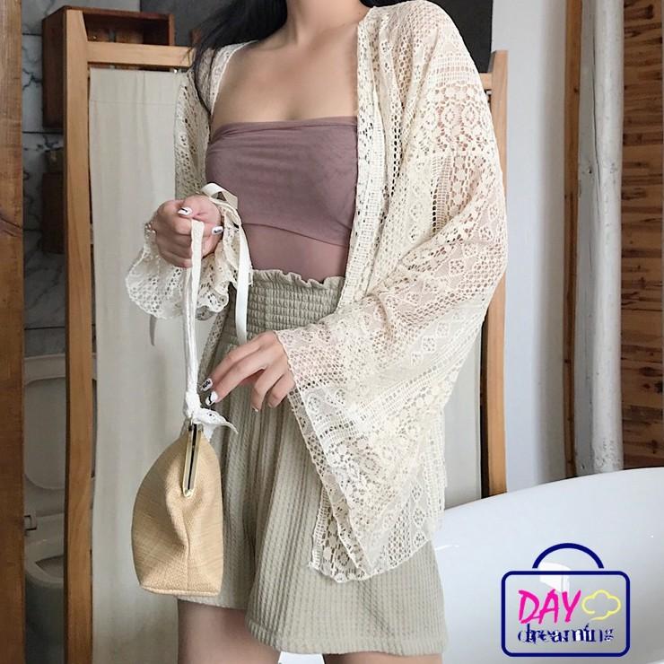 Áo khoác cardigan phối ren tay dài màu trơn thanh lịch cho nữ