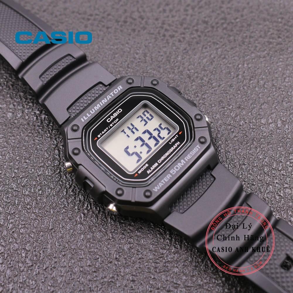 Đồng hồ điện tử nam Casio W-218H-1AVDF dây nhựa