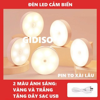 Đèn led cảm ứng, đèn cảm biến tự động thông minh không dây dùng pin sạc dán tủ quần áo, cầu thang, phòng ngủ… GIDISO