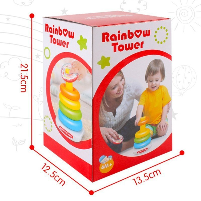Rainbow Tower Tumbler Stacker Stack Up Kid Baby Educational Toys