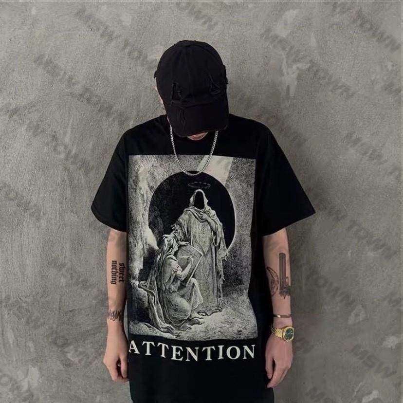 Áo thun tay lỡ Attention, áo phông cotton nam nữ unisex, MSW Town