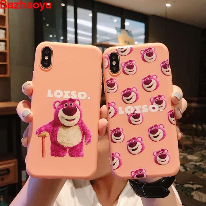 Animation Pink Bear Cute Couple Silicone Case For Vivo Y51 Y53 Y55 Y71 Y93 Y95 Y97