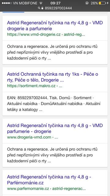 Son Mỡ hươu Astrid TRẮNG 4,7-4,8g to chính hãng (Séc) VỎ TRẮNG