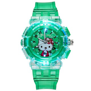 Mới Glowing Children Watch Cartoon KT Cat dạ quang Boy Girl Trường tiểu học Thể thao Đồng hồ điện tử Đèn LED