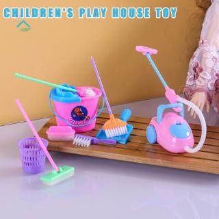 NU 9 Pcs/Set Kid Pretend Play Mini Housekeeping Tools Kitchen Home Cleaning Broom Brush Toy .vn
