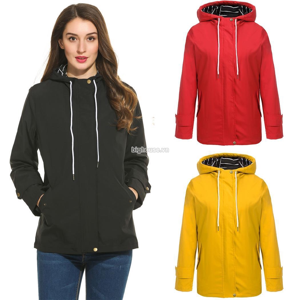 BVHF Women Casual Hooded Long Sleeve Solid Zip Up Jacket with Pocket