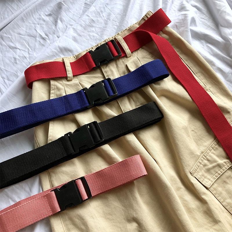 Dây thắt lưng vải canvas màu trơn khoá nhựa thời trang sành điệu 22520