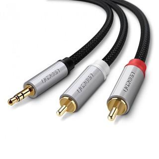 Cáp Audio 3.5mm sang 2 đầu RCA Ugreen 40843 dài 2m cao cấp - Hàng chính hãng bảo hành 18 tháng