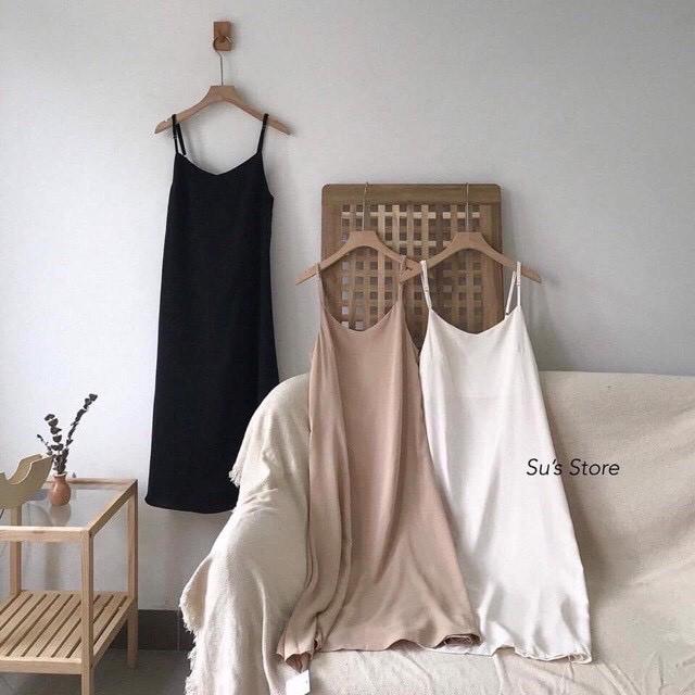 Váy 2 dây , đầm suông - chất đũi lụa trơn basic nữ nhiều màu form rộng bầu mặc thoải mái