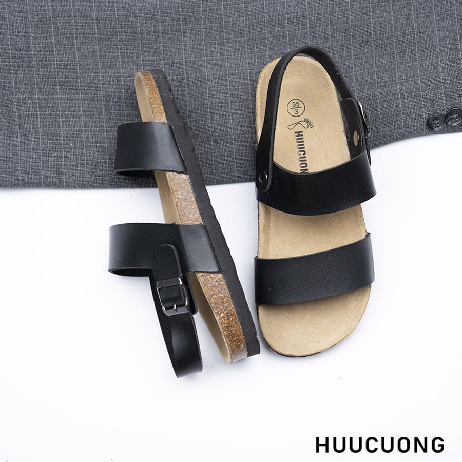 Sandal HuuCuong 2 quai đen đế trấu
